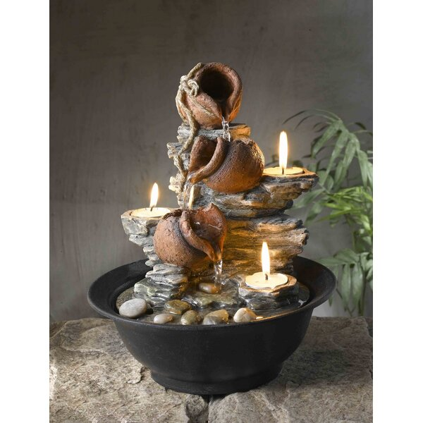 Jeco Inc. Resin/Acrylic Tavolo Luci Mini Pot Tabletop Fountain With Candle  U0026 Reviews | Wayfair