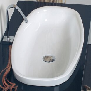 WS Bath Collections Ceramica Ceramic Oval Vessel Bathroom Sink with Overflow