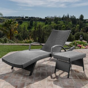 Darby Home Co Gilleasbuig Outdoor Wicker Chaise Lounge with Matching Accent Table