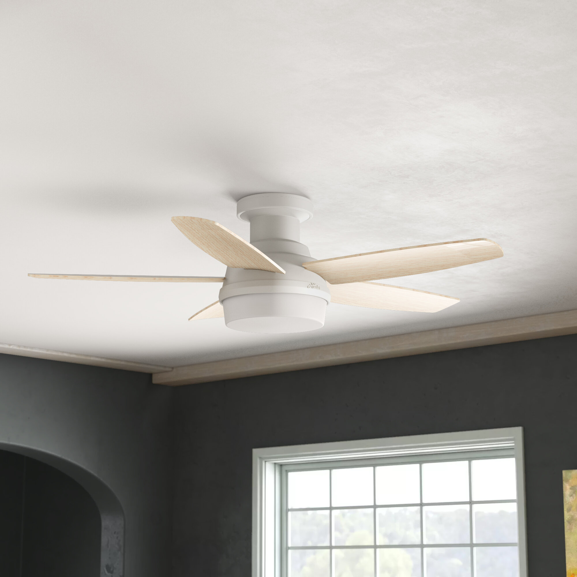 Hunter Fan 48 Avia 5 Blade Led Flush Mount Ceiling Fan With Remote Control And Light Kit Included Reviews