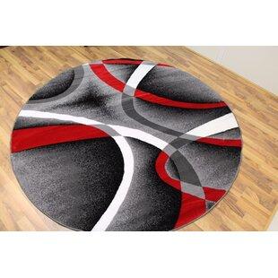 Cherine Modern Gray/Red/White Area Rug by Orren Ellis