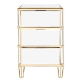 Lupine Mirrored 3 Drawer Nightstand