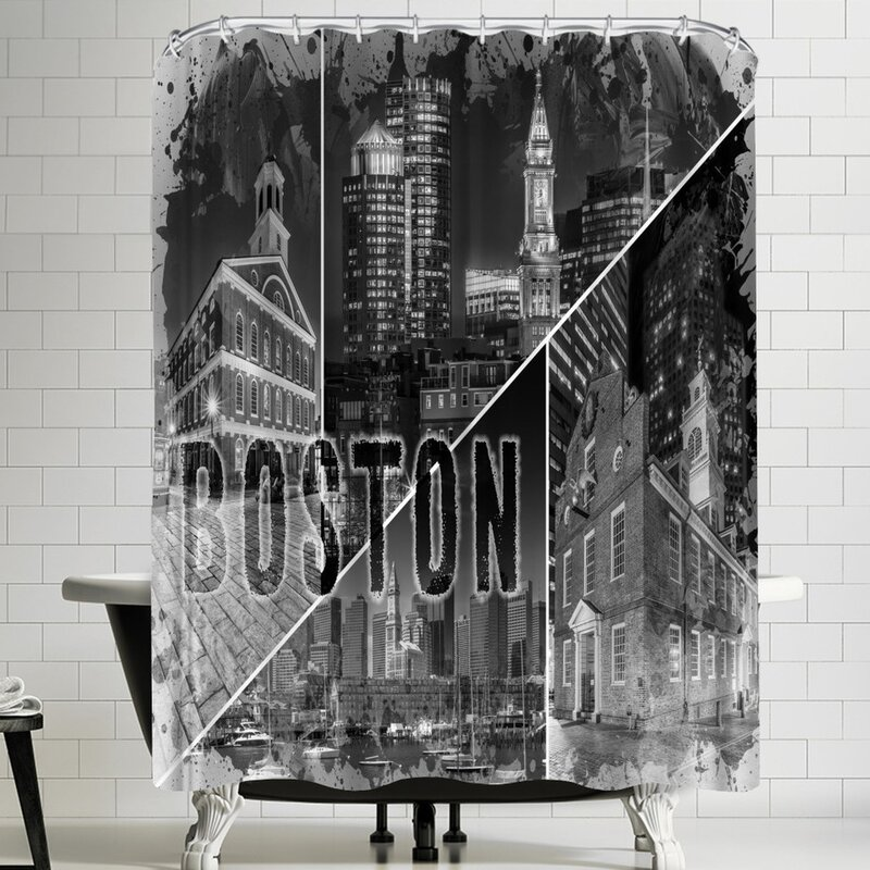 Melanie Viola Boston Urban Collage Shower Curtain