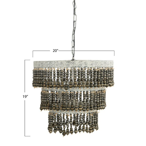 Corbin 3 Light Unique Statement Tiered Chandelier With Wood Accents Reviews Joss Main