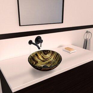 Reviews Zebra Glass Circular Vessel Bathroom Sink with Faucet By VIGO