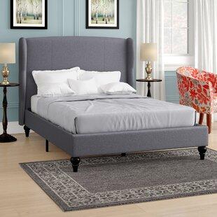 Charlton Home Gibsonburg Linen Upholstered Platform Bed with Shelter Headboard