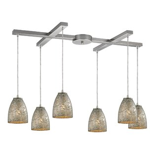 Lucy 6-Light Glass Shade Cluster Pendant by Orren Ellis