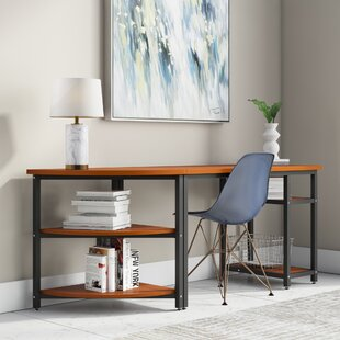 Beesley Corner Credenza desk with Bookshelf