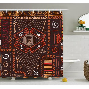 Paddington Aboriginal Patterns Tribal Motifs Objects Collage of Cave Pictures Print Single Shower Curtain