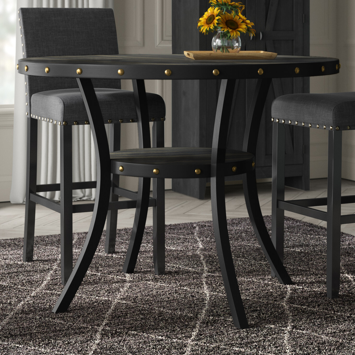 Greyleigh Crooke Round Wood Counter Height Dining Table Reviews Wayfair