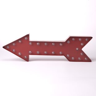 Marquee LED Lighted Red Arrow Sign Battery Operated Wall Décor By Glitzhome