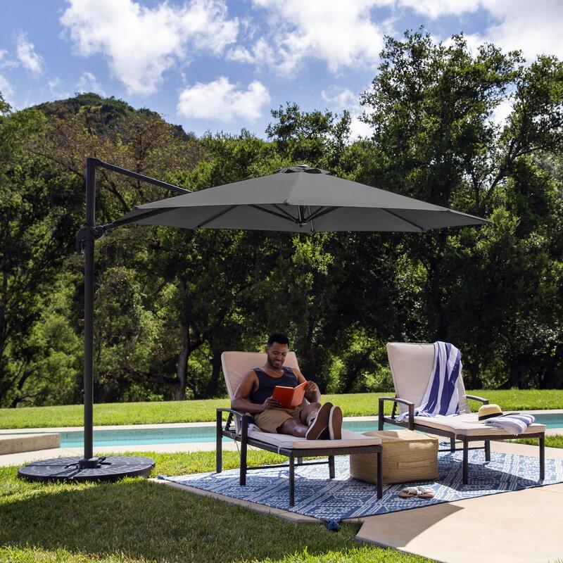 Arlmont Co Luciano 10ft 360 Degree Rotating Cantilever Offset Patio Umbrella W Easy Tilt Reviews Wayfair