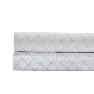 Alfonso Lattice Print 300 Thread Count 100% Cotton 4 Piece Sheet Set