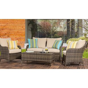Delacruz 4 Piece Rattan Sofa Seating Group with Cushions