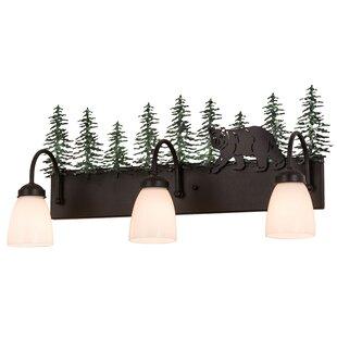 Meyda Tiffany Northwoods Lone Bear 3-Light Vanity Light