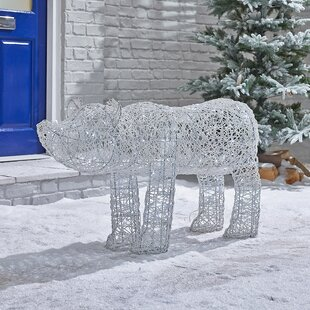 Battery Or Mains Operated Outdoor PVC Rattan Polar Bear Christmas Figurine By The Seasonal Aisle