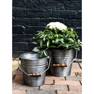 Caudell 2 Piece Metal Plant Pot Set (Set Of 2) By Brambly Cottage