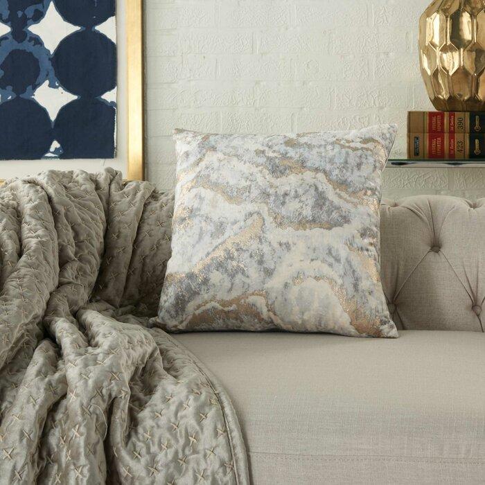 Inspire Me Home Decor Metallic Marble Throw Pillow