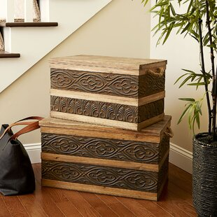 Large Metal Banded Wooden Storage Trunk by Household Essentials