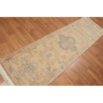 One Of A Kind Helvic Hand Knotted Wool Beige Area Rug