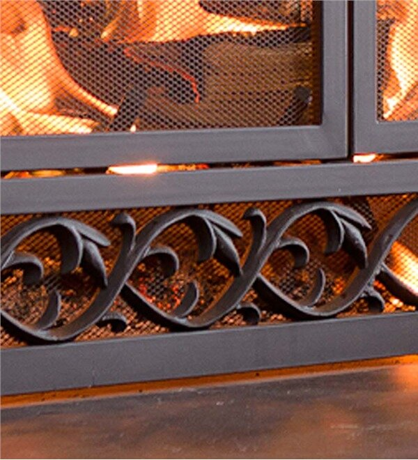 b088dd57855 Plow   Hearth Scrollwork Single Panel Iron Fireplace Screen ...