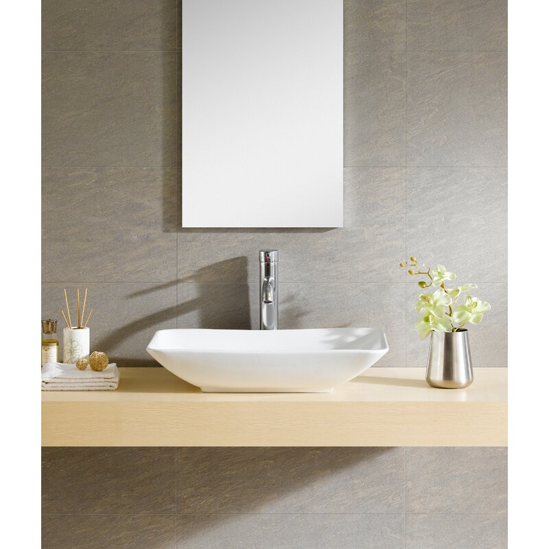 Fine Fixtures Modern Ceramic Rectangular Vessel Bathroom