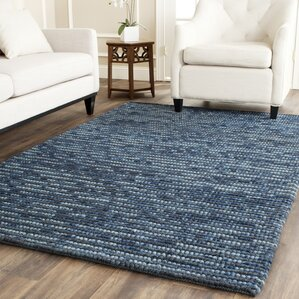 Mittler Navy Striped Hand Knotted Area Rug