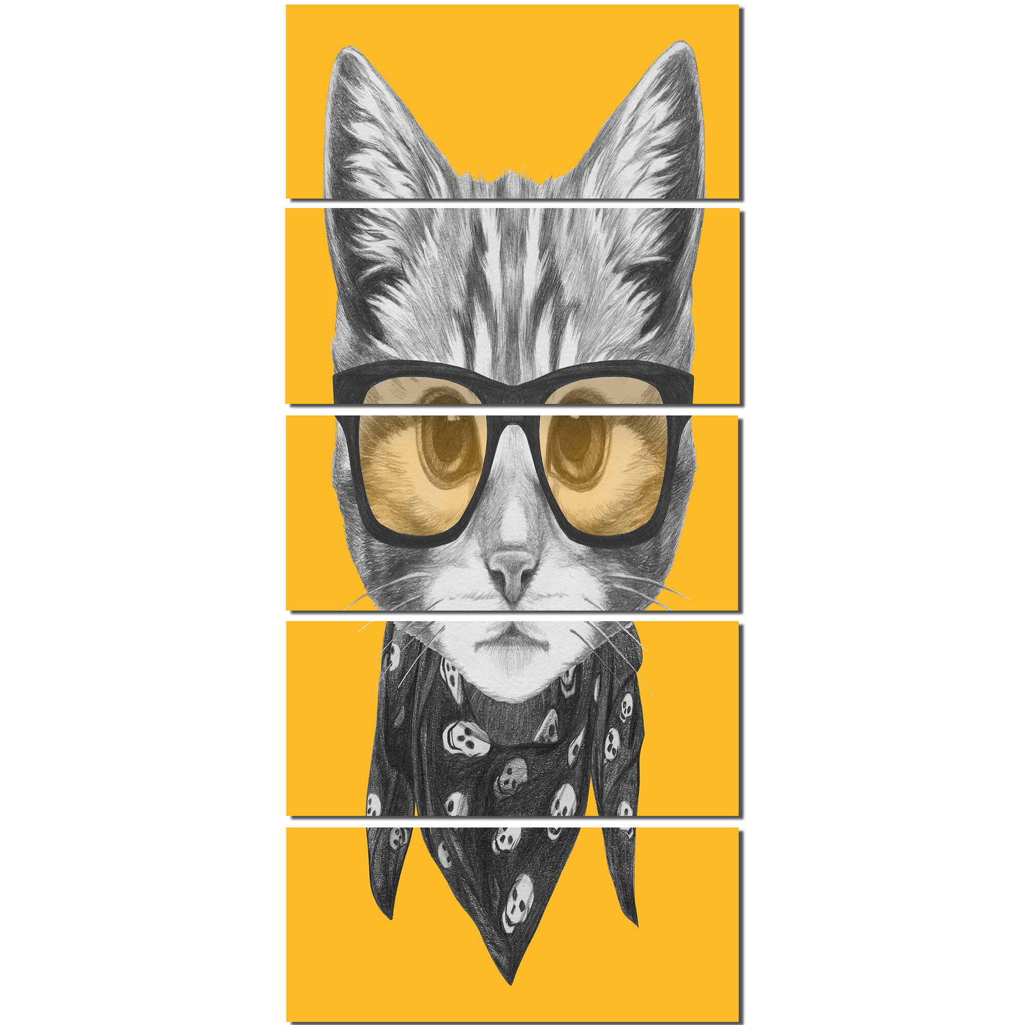 Designart Funny Cat With Glasses And Scarf 5 Piece Graphic Art On Wrapped Canvas Set Wayfair
