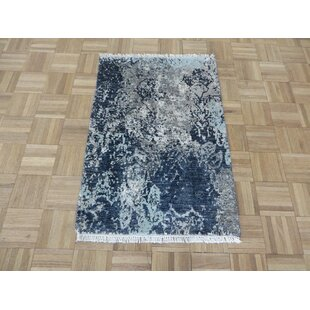 Best Reviews One-of-a-Kind Dowdle Hand-Knotted 2'3 x 3'3 Wool/Silk Gray/Beige/Black Area Rug By Isabelline
