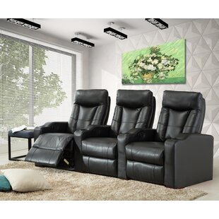 Ebern Designs Leather Home Theater Sofa Row of 3