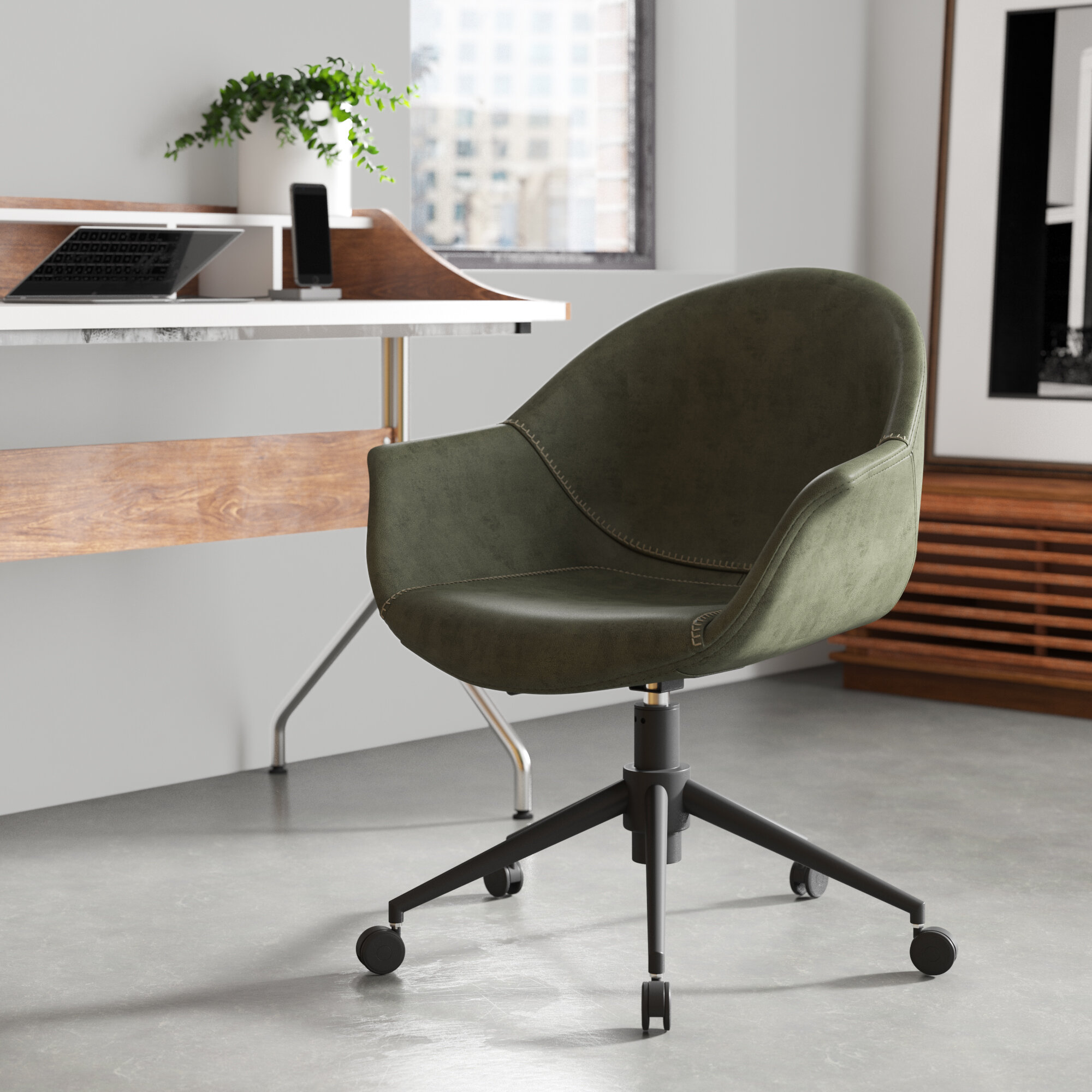 Green Orange Wood Office Chairs You Ll Love In 2020 Wayfair