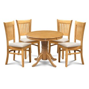 Miriam 5 Piece Solid Wood Dining Set by Breakwater Bay #2