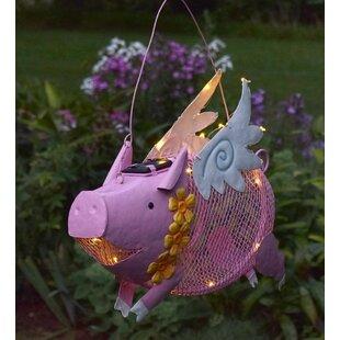 Plow & Hearth Flying Pig Solar Decorative Bird Feeder