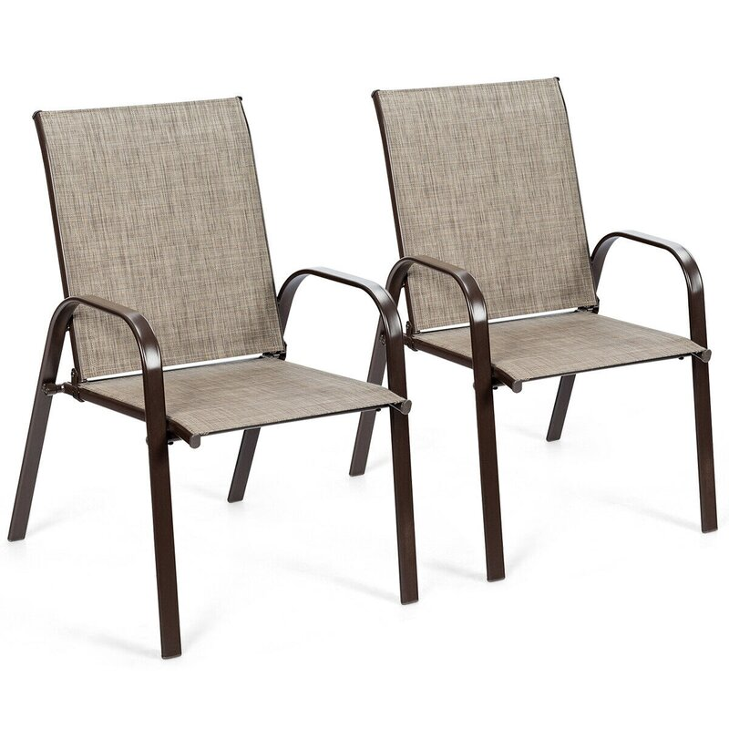George Oliver Tores Steel Arm Chair in Gray (Set of 2)