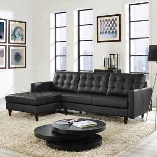 Ivy Bronx Gelb Leather Sectional