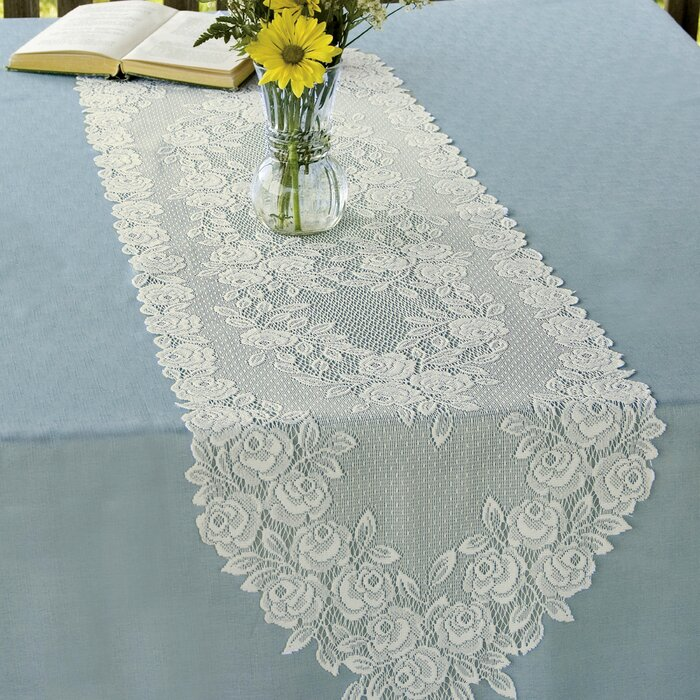 """Heritage Lace 14/"""" x 48/"""" Tea Rose Table Runner White or Ecru  100/% Polyester"""