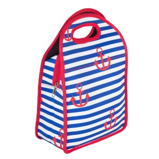 Neoprene Lunch Stripes and Anchor Picnic Tote Bag