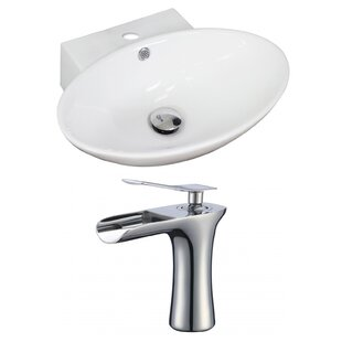 Best Choices Ceramic 21 Wall Mount Bathroom Sink with Faucet and Overflow ByAmerican Imaginations