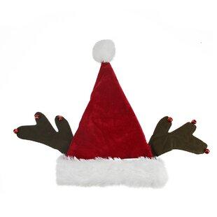 8f7f7e27883 Antler Velvet and Plush Santa Hat with Bell Trim