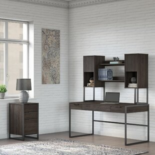 Atria Writing Desk with Hutch and 3 Drawer File Cabinet