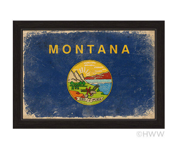 Click Wall Art State Of Montana Flag Framed Painting Print Reviews Wayfair