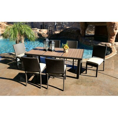 Tampa 7 Piece Dining Set with Cushions World Wide Wicker