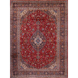Best Reviews One-of-a-Kind Mariner Kashan Traditional Persian Hand-Knotted 9'6 x 13'3 Wool Blue/Burgundy Area Rug By Isabelline