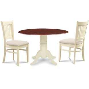 Thornhill Round Carved 3 Piece Solid Wood Dining Set by Alcott Hill