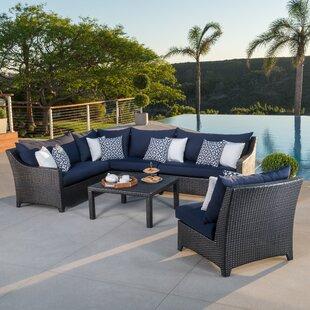 Northridge 6 Piece Rattan Sunbrella Sectional Set with Cushions