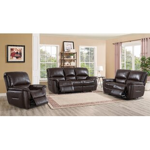 Devia 3 Piece Leather Reclining Living Room Set by Red Barrel Studio