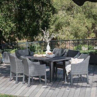 One Allium Way Adalheid Outdoor Wicker Rectangular 7 Piece Dining Set with Cushions