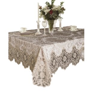 SantaAna Elegant Velvet Lace Sheer Floral Design Tablecloth