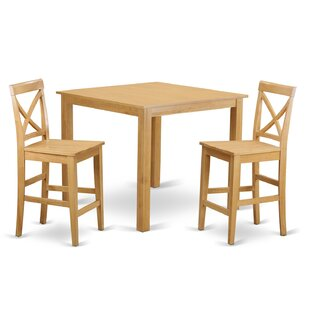 East West Furniture Cafe 3 Piece Counter Height Pub Table Set