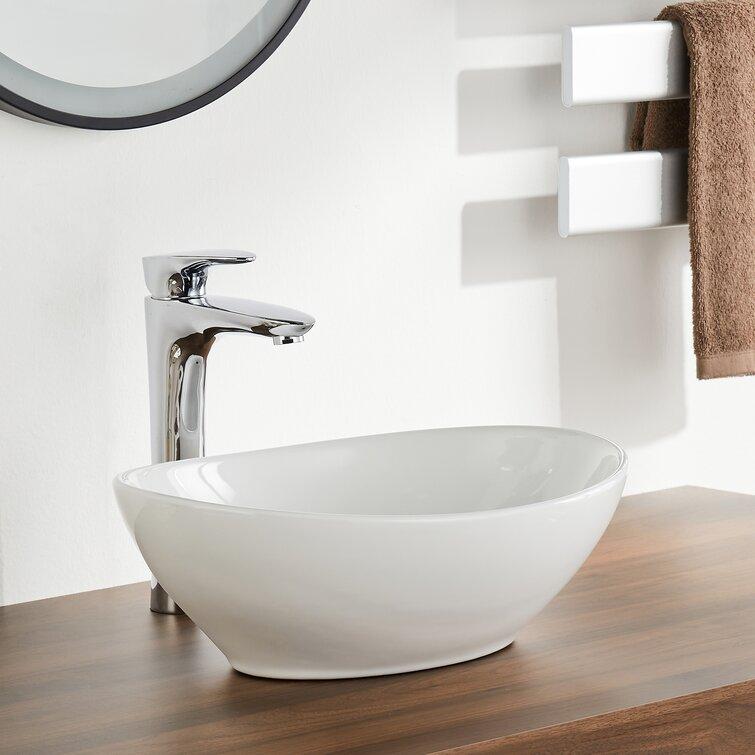 Deervalley White Ceramic Oval Vessel Bathroom Sink Reviews Wayfair